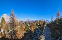 Autumn Dolomites mountain scene, Sudtirol, Italy. Cinque Torri (Five towers) rock formation.
