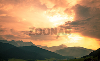 Mountains under sunset light, as seen from Cinque Torri, Dolomite Alps, Italy