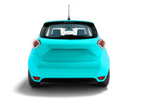Modern blue electric car hatchback for carrying passengers at the rear 3d rendering on white background with shadow