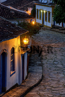 Streets of the old and historic city of Tiradentes with lantern lights
