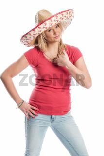blonde frau mit sombrero zeigt daumen hoch