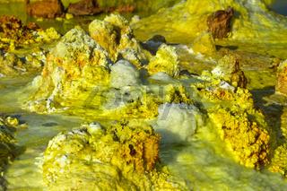 Schwefelgestein in einem hochgesättigten sauren Salzlaugenpool, Dallol, Äthiopien
