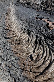 View of lava field volcanic eruption active volcano