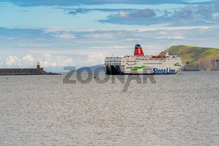 Stena Line ferry leaving Fishguard bay on the way to Rosslare in Ireland