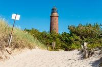 Der Leuchtturm Darßer Ort vom Strand aus gesehen, Fischland-Darß, Mecklenburg-Vorpommern