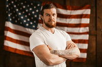 Successful American Looking Confident Amid America's Flag