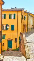 Old street in Santarcangelo di Romagna town