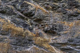 Struktur einer Schieferabbruchwand