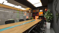 Modern meeting room in office realistic interior design idea 3D rendering