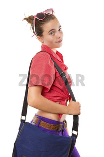 teenage girl with bag and sunglasses ready to go to school, isolated on white