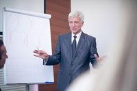 Business man speaking on seminar