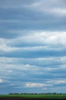 Farmland landscape on a background of cloudy sky.