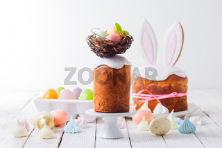 various traditional decorations for the Easter cake