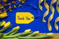 Spring Flowers Decoration, Branch, Ribbon, Label With Text Thank You