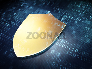 Protection concept: Golden Shield on digital background