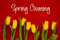 Yellow Tulip Flowers, Red Background, Text Spring Cleaning
