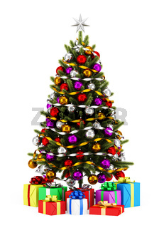 decorated christmas tree with gift boxes isolated on white background