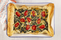 Home made spinach quiche top view.