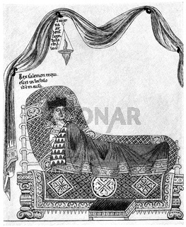A princely bed, Hortus deliciarum  by Herrad of Landsberg, 12th century