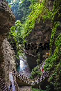 Cliff path in Wulong National Park