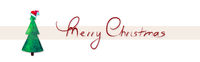 Merry Christmas watercolor background with green fir tree.