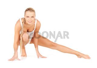 sporty woman in cotton undrewear