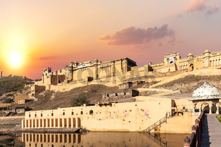 Amber Fort of India, Jaipur, full view at sunset