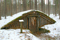 Earth-house built by Soviet partisans in Ukrainian forest while Secont World War