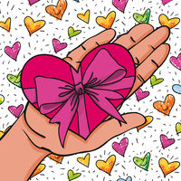 Give away his heart - Hand with red-pink heart shaped present- hand-drawn vector illustration for banners, cards