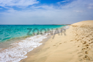 Ponta preta beach and dune in Santa Maria, Sal Island, Cape Verde