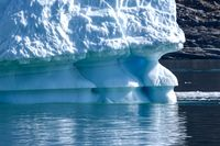 floating glaciers on the sea during a day