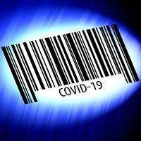 covid-19 barcode with blue background