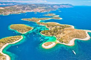 Pakleni otoci yachting destination arcipelago aerial view, Hvar island