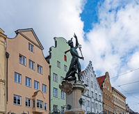 Historic Merkur fountain in Augsburg