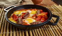 Middle Eastern eggs with merguez