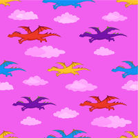 Seamless background, colorful dragons flies
