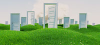 open and closed doors on green flowery hills under cloud 3D rendering