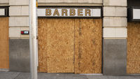Local Barber Shop Boarded up and Closed During the Covid 19 Pandemic