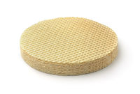 Stack of round wafer cake sheets