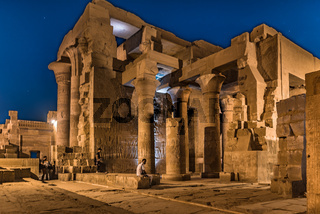 The temple of Kom Ombo has visiting tourists at night