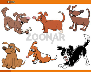 dogs and puppies funny animal characters set