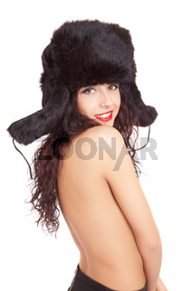 smile girl in winter fur cap