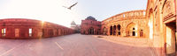 Jahangir Palace in Red Agra Fort, sunny panorama, India