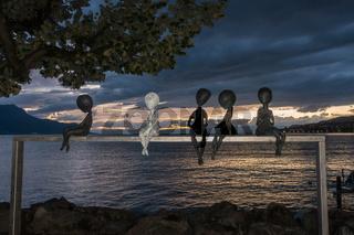 Modern art statue in Montreux Switzerland