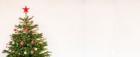 Christmas Tree With Decoration, White Isolated Background, Copy Space