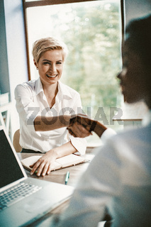 Handshake Of Two business women, Female Business Concept