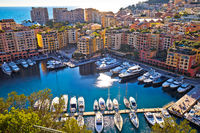 Fontvieille colorful harbor and waterfront aerial view