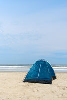 Camping with tent at the beach