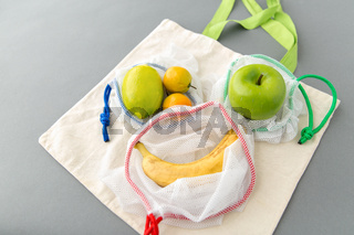reusable shopping bags for food with fruits