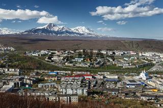 View of city Petropavlovsk-Kamchatsky and volcanoes. Kamchatka Peninsula, Russian Far East